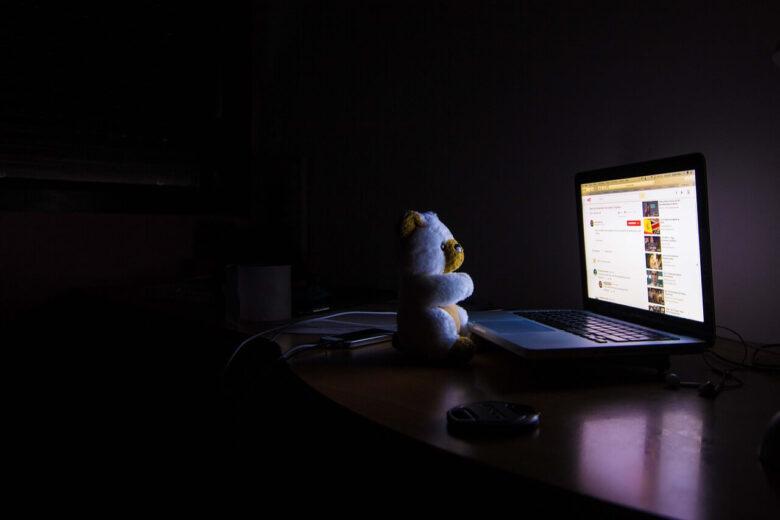 暗い部屋の中でパソコンを見ているクマ
