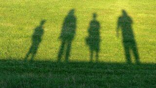 芝生に移る人影