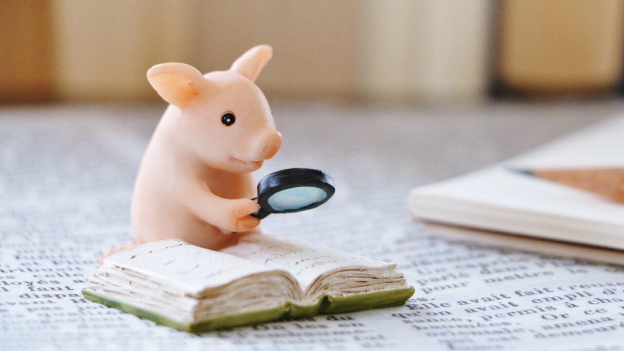 虫眼鏡で本を読むネズミ
