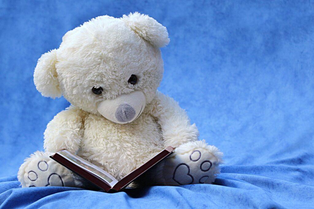 本を読むクマのぬいぐるみ