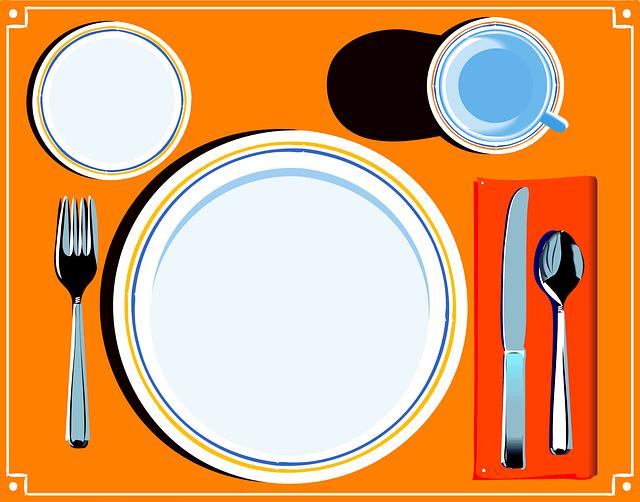 テーブルにお皿