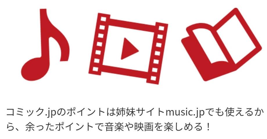 music.jpとのポイント連携利用で映画も見れる